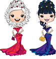 beautiful fashion girls in party dresses vector image vector image
