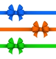 Blue orange and green gift bows vector image