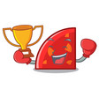 boxing winner quadrant mascot cartoon style vector image vector image