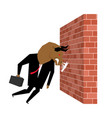 businessman bull is destroying brick wall vector image