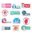 cardiology and dietetics healthcare icons vector image vector image