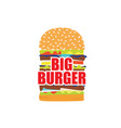 cartoon burger vector image