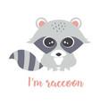 cartoon cute raccoon vector image