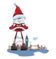cartoon santa claus on background london vector image vector image