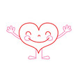color line heart kawaii with arms and legs design vector image vector image