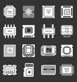 computer chips icons set grey vector image vector image