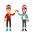 couple with winter clothes vector image vector image