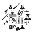 crime simple icons vector image vector image