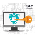 cyber security computer padlock key protection vector image vector image