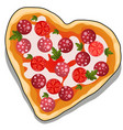 delicious pizza in shape a heart isolated vector image