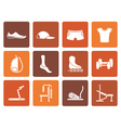Flat sports equipment and objects icons