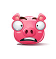 funny cute crazy pig smiley symbol 2019 vector image