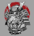 hand drawn highly detailed japanese tiger samurai vector image vector image