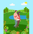happy couple back view spend time together in park vector image vector image