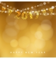 Happy new year greeting card with 2017 and string vector image