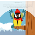 Happy Titmouse with Hat on the Tree winter flat vector image vector image