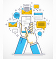 internet communication and activity man hands vector image vector image