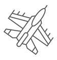 jet fighter thin line icon air and army airplane vector image vector image