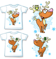 kid shirt with cute reindeer and owl printed - vector image