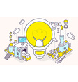 light bulb and three dimensional mechanis vector image vector image