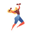 muscular young girl jumping with little dumbbels vector image vector image