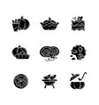 pumpkin dishes black glyph icons set on white vector image