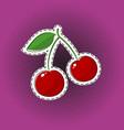 red cherry sticker on purple pop art background vector image