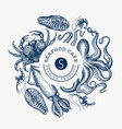 seafood design template hand drawn seafood vector image