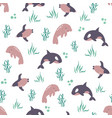 seamless pattern with cute animals orca penguin vector image