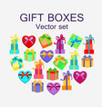 set of different gift boxes in flat design vector image
