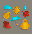 set of flat cartoon style fall autumn objects vector image vector image