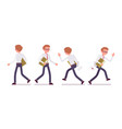 set of male clerk in walking and running poses vector image
