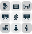teamwork icons set with calendar team honeycomb vector image