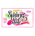 the advertising poster is a spring sale discounts vector image vector image