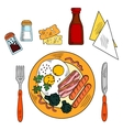 traditional breakfast with eggs bacon sausages vector image