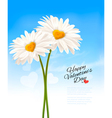 Two daisies with heart shaped middles Valentines vector image