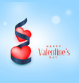 two red hearts with blue ribbon valentines day vector image vector image