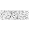various camping tents doodle set vector image