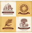Vintage Thanksgiving labels set vector image vector image