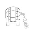 wine barrel outline vector image vector image