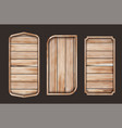 wooden signboards banner set shape boards vector image