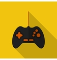 Flat gamepad with long shadow icon vector image