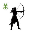 black silhouette elven archer with bow vector image