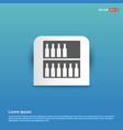 bottles on bar counter icon - blue sticker button vector image