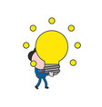 businessman character walking and holding glowing vector image vector image
