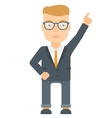 Businessman pointing up with finger vector image