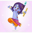 cartoon little krishna dancing vector image