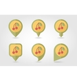 Cherry mapping pins icons vector image vector image