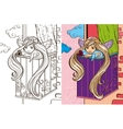 Colouring Book Of Angel Girl On Balcony vector image vector image