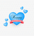 cute blue hearts with ribbon for valentines day vector image